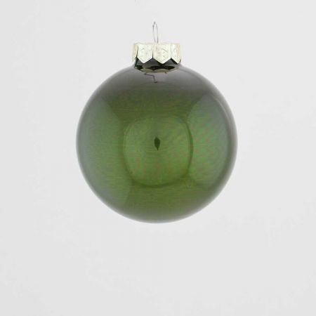 Χριστουγεννιάτικη μπάλα γυάλινη Κυπαρισσί γυαλιστερή 8cm