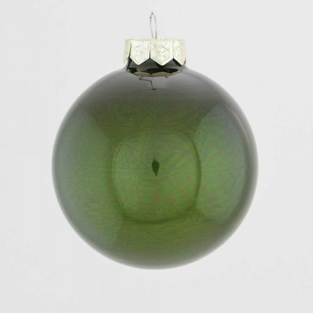 Χριστουγεννιάτικη μπάλα γυάλινη Κυπαρισσί γυαλιστερό 10cm
