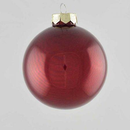 Χριστουγεννιάτικη μπάλα γυάλινη Μπορντό γυαλιστερή 10cm