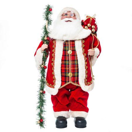 Διακοσμητικός Άγιος Βασίλης με γιρλάντα (με ήχο και κίνηση) 60cm