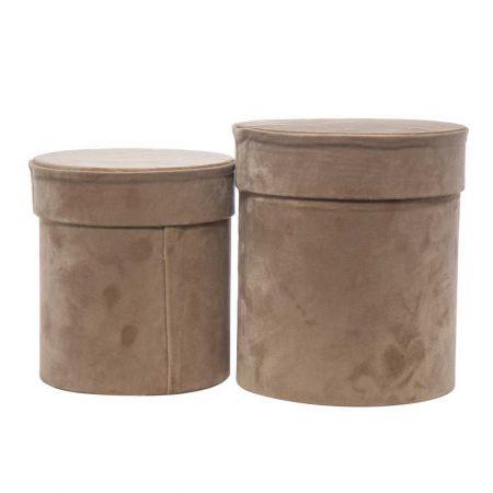 Σετ 2τχ βελούδινα κουτιά δώρου Κυλινδρικά Μπεζ 20cm, 17cm