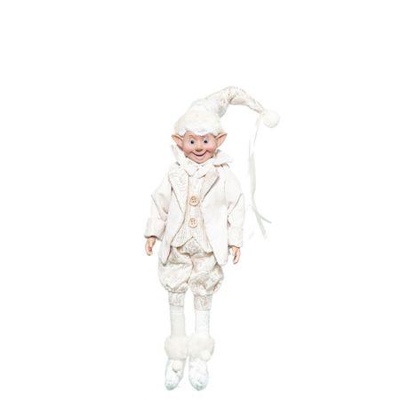 Χριστουγεννιάτικο ξωτικό - αρλεκίνος Εκρού 40cm