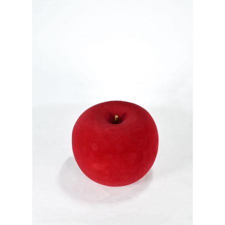 XL Διακοσμητικό Μήλο βελούδινο Μπορντό 21cm