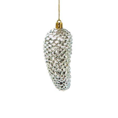 Κρεμαστό στολίδι χιονισμένο κουκουνάρι Χρυσό 5x11cm