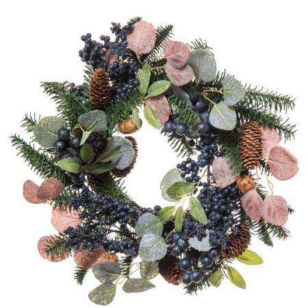 Χριστουγεννιάτικο στεφάνι στολισμένο με berries Μπλε 40x10cm