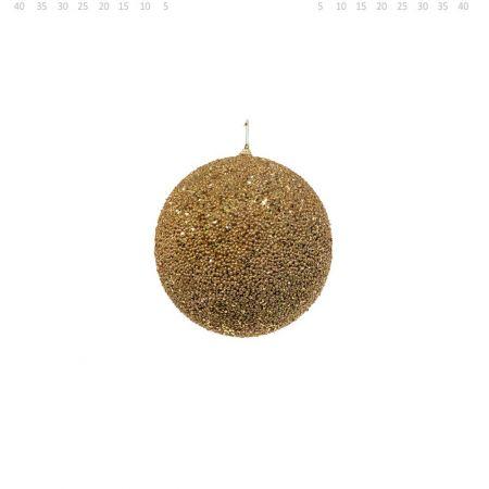 Διακοσμητική χριστουγεννιάτικη μπάλα Glitter Χρυσή 8cm