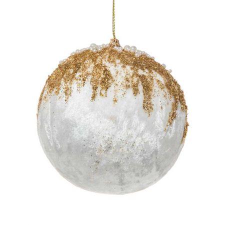 Xριστουγεννιάτικη μπάλα βελούδινη με glitter και χάντρες Λευκό - Χρυσό 10cm