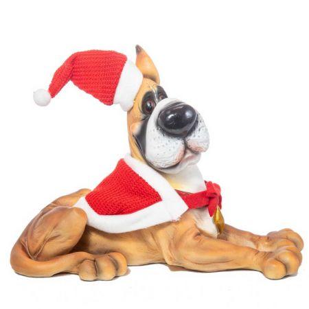 Χριστουγεννιάτικο σκυλάκι με σκούφο polyresin 20x26cm