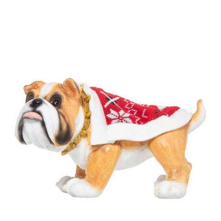 Χριστουγεννιάτικο σκυλάκι με κάπα polyresin 23x15cm