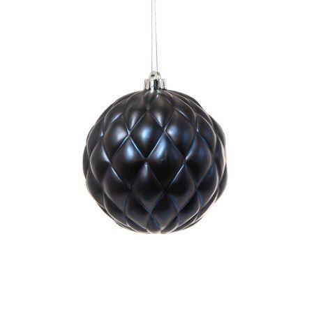 XL Χριστουγεννιάτικη μπάλα ανάγλυφη Μπλε 15cm