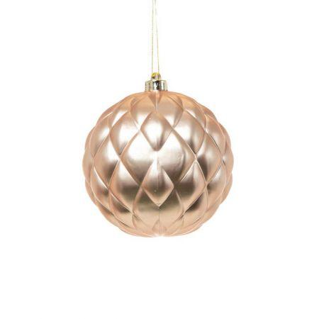 XL Χριστουγεννιάτικη μπάλα ανάγλυφη ανοιχτό Ροζ 15cm