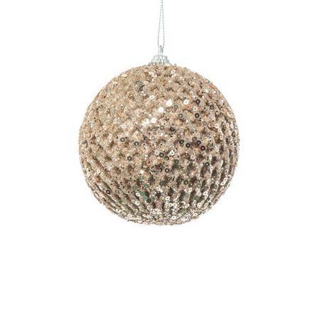 Χριστουγεννιάτικη μπάλα με glitter και παγιέτες Σαμπανί 8cm
