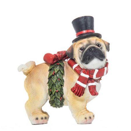 Χριστουγεννιάτικο σκυλάκι με καπέλο polyresin 8x14cm