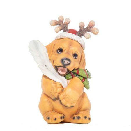 Χριστουγεννιάτικο κουτάβι με σκούφο polyresin 10x20cm