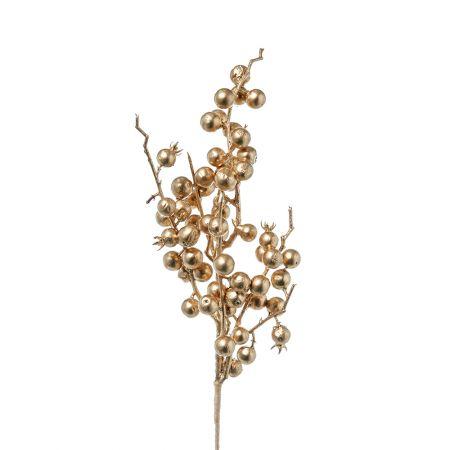 Χριστουγεννιάτικο κλαδί Berries - Γκι Χρυσό 38cm