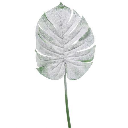 Χιονισμένο φύλλο Monstera Πράσινο - Λευκό 72cm