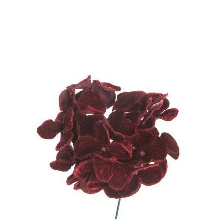 Χριστουγεννιάτικο λουλούδι Ορτανσία deluxe Μπορντό 19cm