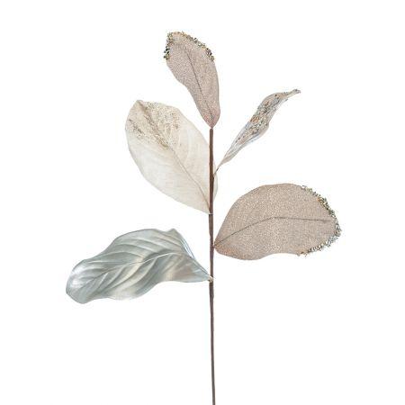Χριστουγεννιάτικο κλαδί με φύλλα Μανόλιας Σαμπανί 58cm