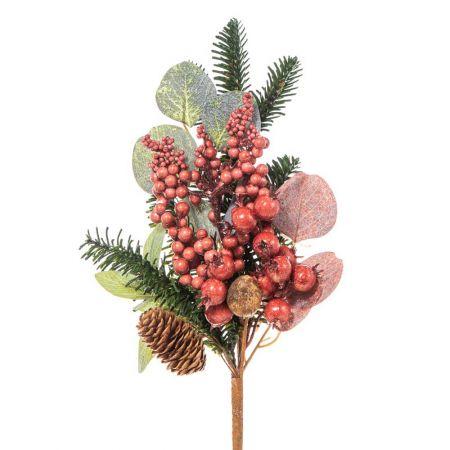 Χριστουγεννιάτικο κλαδί με berries Σάπιο Μήλο 35x20cm