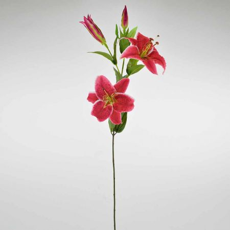 Διακοσμητικό συνθετικό λουλούδι Λίλιουμ Φούξια 82cm