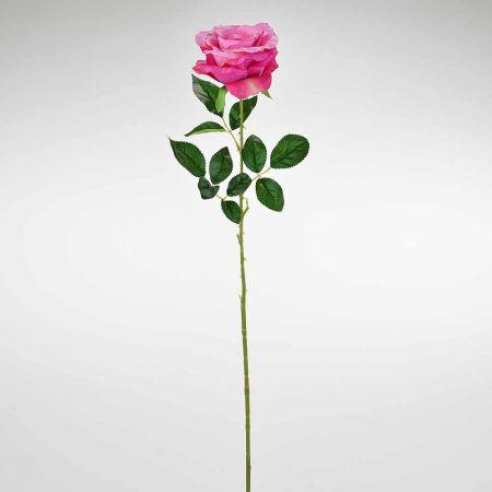Διακοσμητικό συνθετικό τριαντάφυλλο Φούξια 78cm