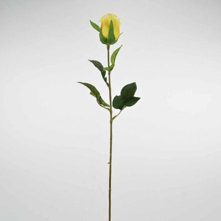 Διακοσμητικό συνθετικό τριαντάφυλλο μπουμπούκι Κίτρινο 68cm