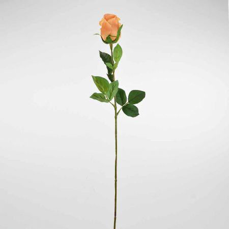 Διακοσμητικό συνθετικό τριαντάφυλλο μπουμπούκι Ροδακινί 68cm