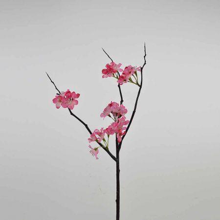 Διακοσμητικό κλαδί με άνθη ροδακινιάς Ροζ σκούρο 50cm