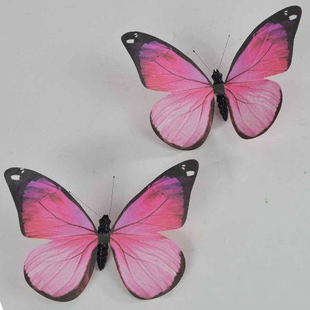 Σετ 2τχ διακοσμητική πεταλούδα Ρόζ 20cm