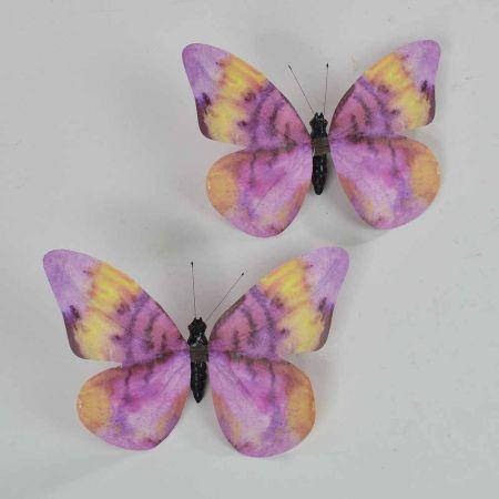 Σετ 2τχ διακοσμητική πεταλούδα Μώβ 20cm