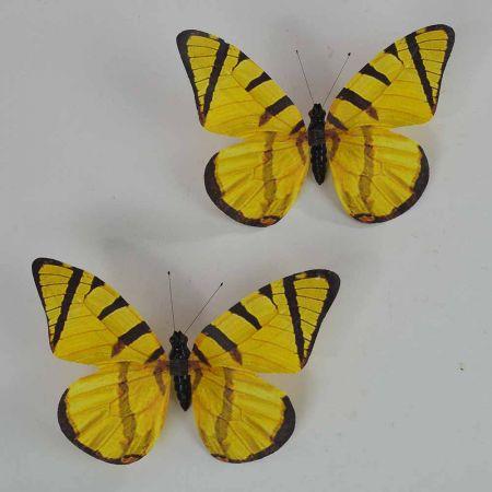 Σετ 2τχ διακοσμητική πεταλούδα Κίτρινη 20cm