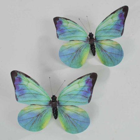 Σετ 2τχ διακοσμητική πεταλούδα Μπλέ 20cm