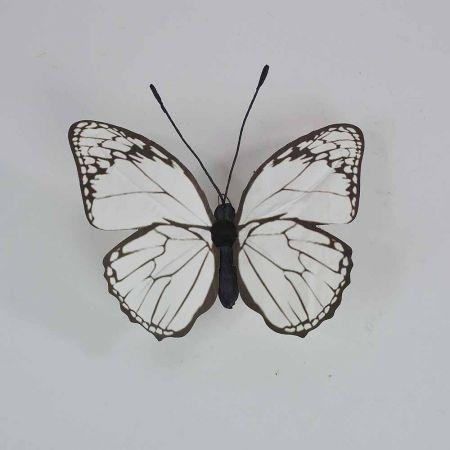 Διακοσμητική πεταλούδα Λευκή 30x27x3cm