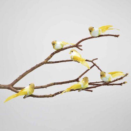 Σετ 6τχ διακοσμητικό Ανοιξιάτικο πουλάκι με κλιπ Κίτρινο 11cm