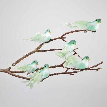 Σετ 6τχ διακοσμητικό Ανοιξιάτικο πουλάκι με κλιπ Πράσινο 11cm