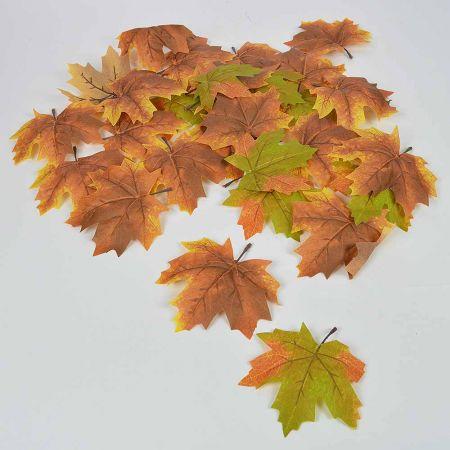 Σετ 28τχ Φθινοπωρινά φύλλα Σφενδάμου Πράσινο - Καφέ 15cm