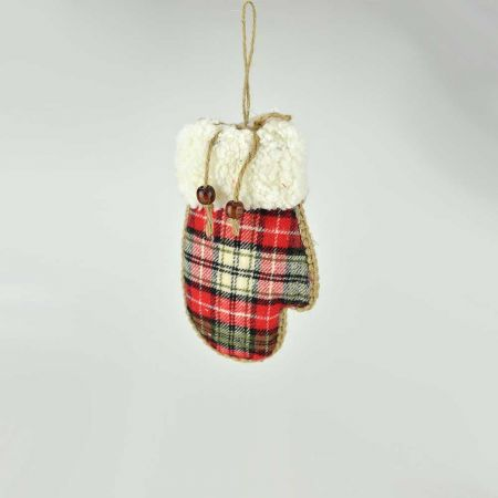 Κρεμαστό υφασμάτινο γάντι Κόκκινο καρό, 17.5cm