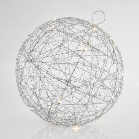 Φωτιζόμενη συρμάτινη μπάλα 30LED με χάντρες και glitter Ασημί 30cm