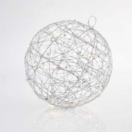 Φωτιζόμενη συρμάτινη μπάλα 20LED με χάντρες και glitter Ασημί 25cm