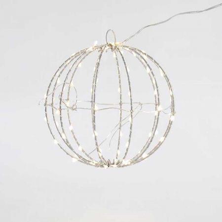 Φωτιζόμενη μπάλα 96microLED IP44 Ασημί σύρμα / Θερμό Λευκό LED 20cm