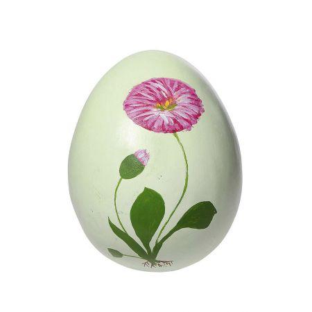 Διακοσμητικό Πασχαλινό αυγό σε Πράσινο παστέλ με ζωγραφισμένο Ροζ λουλούδι 27cm