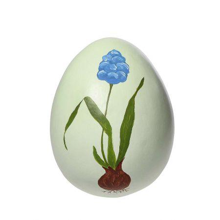 Διακοσμητικό Πασχαλινό αυγό σε Πράσινο παστέλ με ζωγραφισμένο Μπλε λουλούδι 27cm