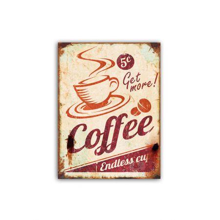 Διακοσμητική μεταλλική πινακίδα COFFEE 40x30cm
