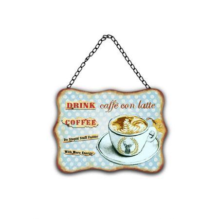 Διακοσμητική μεταλλική πινακίδα CAFE-LATTE 20x27cm