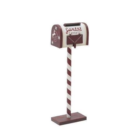 Χριστουγεννιάτικο μεταλλικό γραμματοκιβώτιο - Letters to Santa Λευκό - Μπορντό 19,5x10,5x60cm