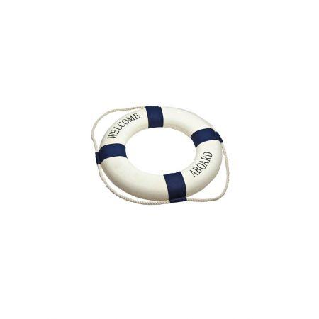 Διακοσμητικό σωσίβιο καραβιού WELCOME ABOARD Λευκό - Μπλε 14cm