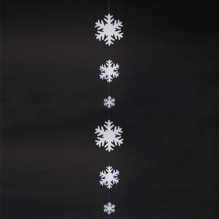 Διακοσμητική γιρλάντα με 6 νιφάδες χιονιού από βάτα 270cm