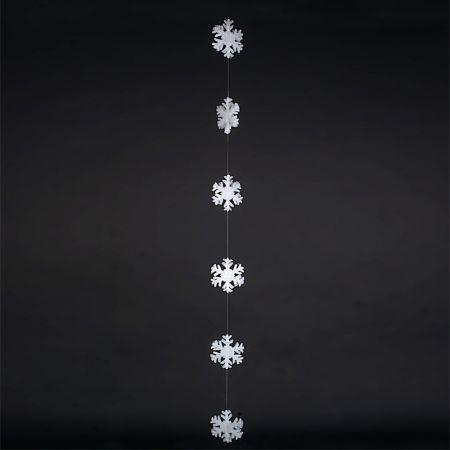 Διακοσμητική γιρλάντα με 6 νιφάδες χιονιού από βάτα 2cm/200cm