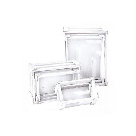 Σετ 5τμχ. Διακοσμητικά Καφάσια Ξύλινα Λευκά 37x28.5x15.5cm