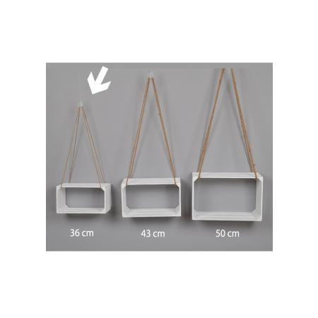 Διακοσμητικό κρεμαστό καφάσι - ράφι Λευκό 36x18x20cm
